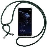 Ingen Funda con Cuerda para Huawei P10 Lite - Carcasa Transparente TPU Suave Silicona Case con Colgante-Verde Oscuro
