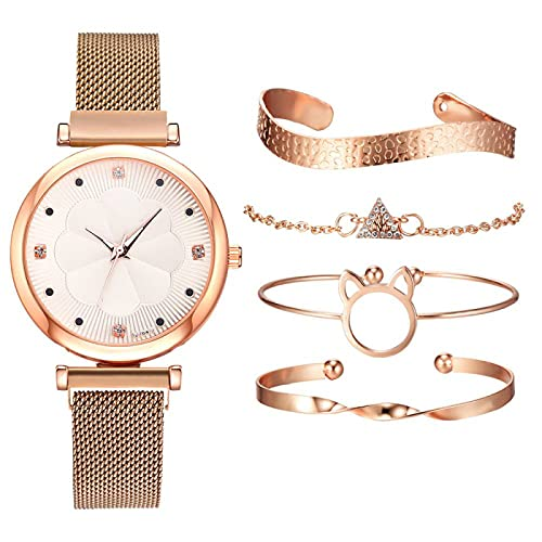 34mmWomen S Relojes de las Mujeres Relojes de Lujo Imán Hebilla Flor Rhinestone Reloj Señoras Cuarzo Reloj Pulsera Conjunto