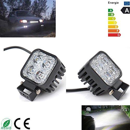 2x 12W COCHE Jeep Barco Camión Faro cuadrado LED luz de trabajo lámpara luz antiniebla Luces para Offroad SUV blanco frío 12V/24V