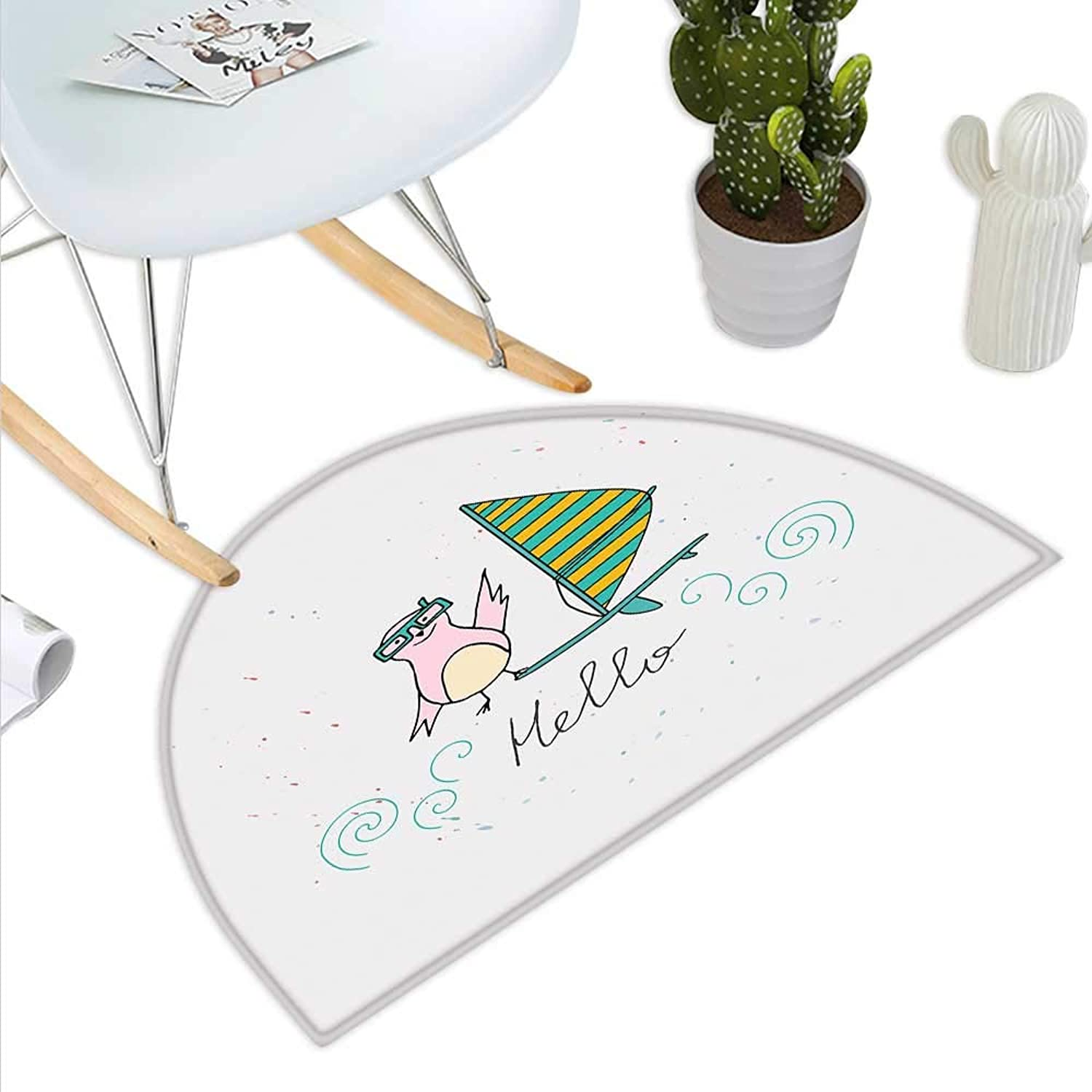 Hello Semicircle Doormat Summer Inspiration with Hand Drawn Bird and Windsurf Board Cartoon Style Halfmoon doormats H 43.3  xD 64.9  Mint Green Yellow Pink