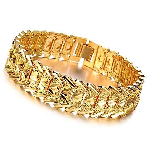 Vintage Mode Euro Münzarmband, Kupferbeschichtet 24 Karat Gold Wide Version Auto Flower Spark Armband Uhrenkette