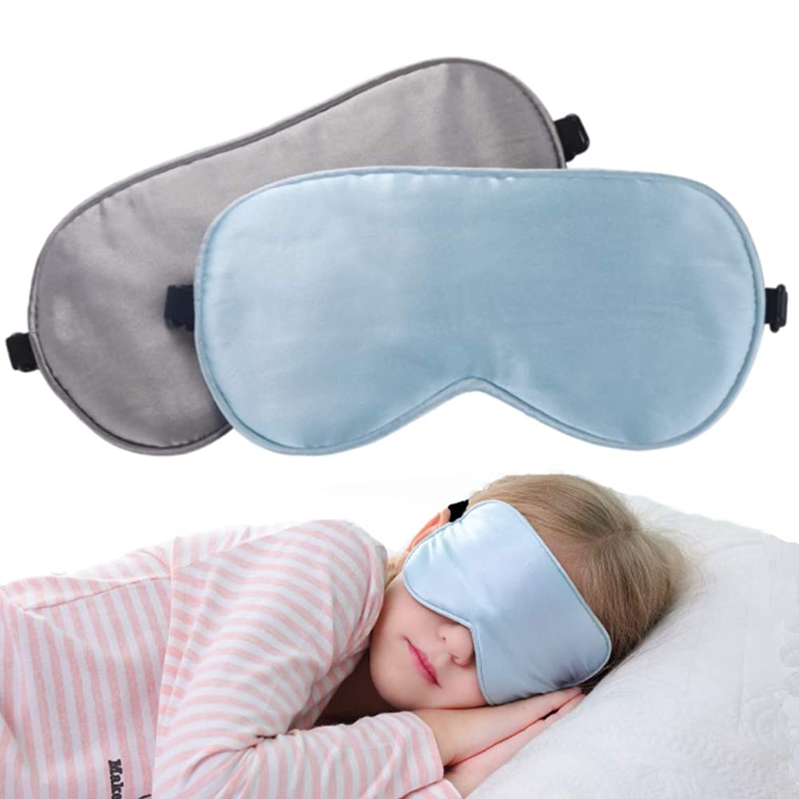 2 Pack Lonfrote Children Eye Mask Smooth Blindford for Travel Relax Supper Soft Natural Silk Sleep Mask for Kids Sleeping