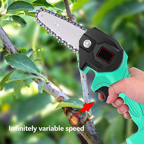 Manooby Mini Chainsaw Cordless Battery-Powered Chainsaw with Brushless Motor, Electric Hand Saw with Storage Bag, 4-Inch 24V Cordless Chainsaw, Pruning Shears Chainsaw(Green)