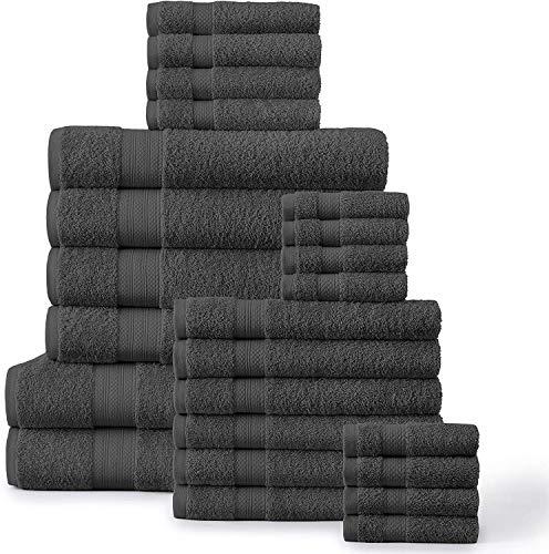 24 Piece Grey Bath Towels - 100% Ring Spun Cotton Towels Set, Oversize Bath Sheets, Highly Absorbent Bathroom Towel Set, 2 Bath Sheets, 4 Bath Towels,...