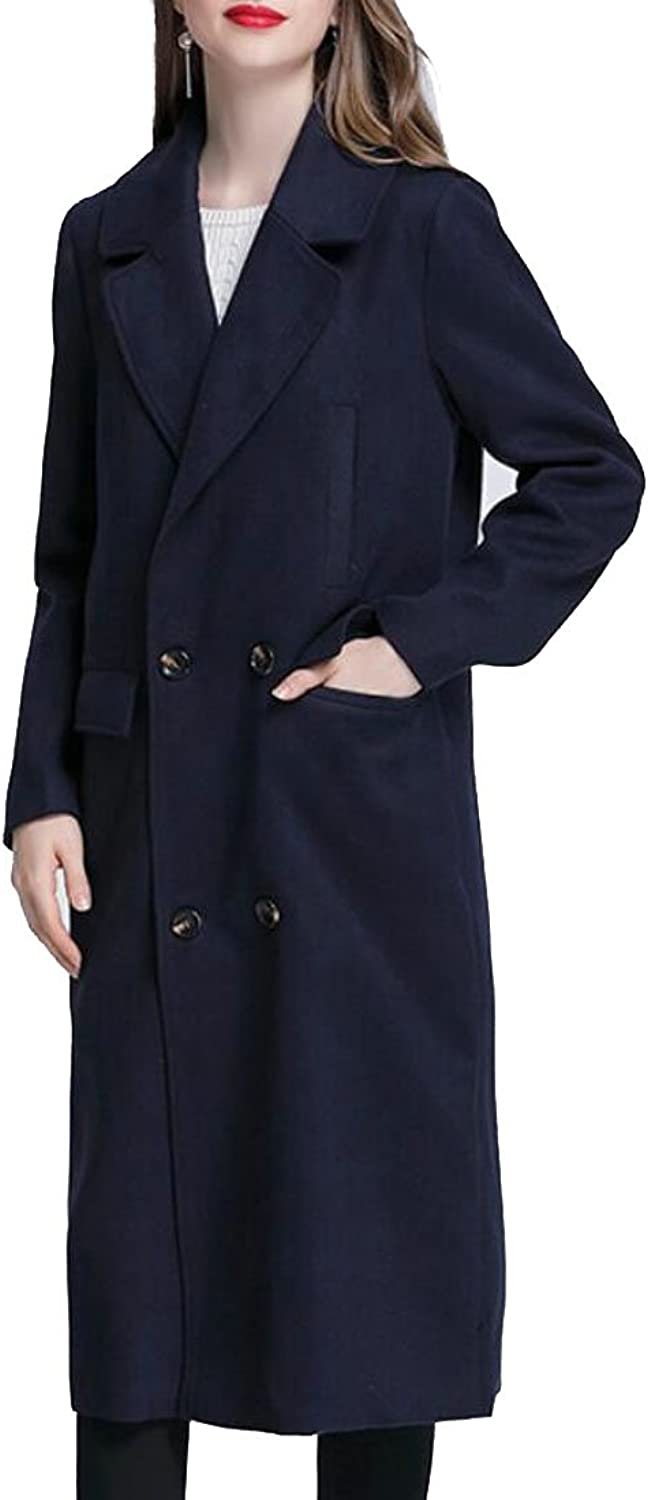Ouxiuli Womens Lightweight Lapel Trench Coat Loose Casual Open Front Oversize Coat