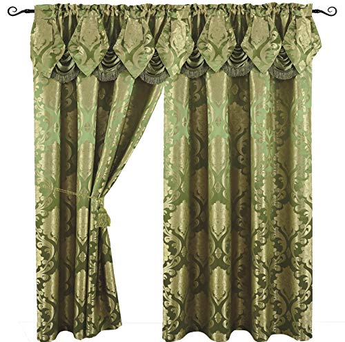 Venice Collections Luxury Jacquard Curtain Panel with Attached Waterfall Valance, 54 by 84-Inch Angelina Sage