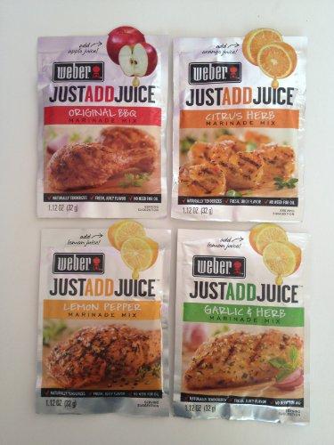 Weber Just Add Juice 4 Pack Assortment, Original Bbq, Lemon Pepper, Citrus Herb, and Garlic & Herb, Each 1.12 Oz (1 of Each-total 4 Pouches)