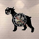 QIANGTOU Mini Reloj de Pared canino para Perro Schnauzer, Reloj de Pared con Registro de Vinilo de Raza de Perro Schnauzer Gigante, Regalo para criadores de Perros y Mascotas
