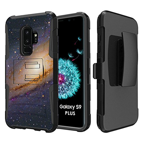 Capsule Case Compatible with Samsung Galaxy S9 Plus [Hybrid Dual Layer Combat Full Armor Style Kickstand with Holster Combo Case Black] for Samsung Galaxy S9+ Plus - (Space Milkyway)