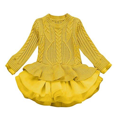 Kobay Kinder Mädchen Strickpullover Winterpullover Häkel-Tutu Kleid Tops Kleider (130 / 6Jahr, Gelb)