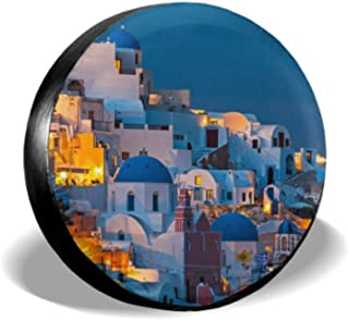 KUneh Impressive Evening View of Santorini Spare Tire Covers for Trailers Tire Protector Covers Tire Cover Waterproof Uv Sun 14 - 17 Fit for Jeep Trailer Rv SUV and Many Vehicle