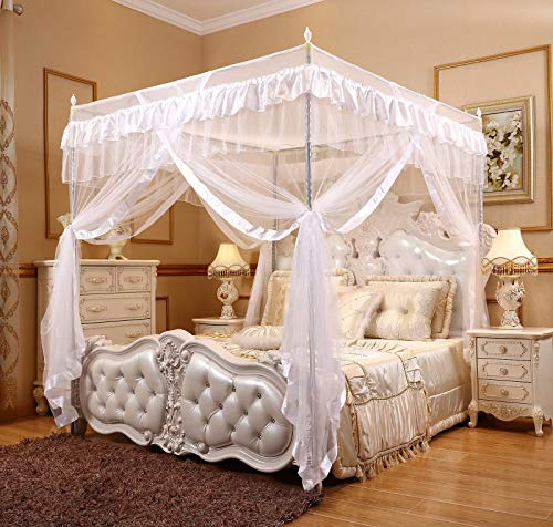 Hixonair Princess 4 Corners Post Bed Canopy Curtain Mosquito Net with Frame Post (Double (1xBed Canopy+Canopy Frame), White)