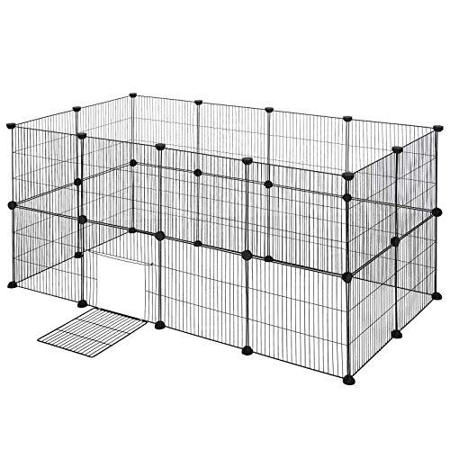 EUGAD DIY Jaula Metálica para Mascotas Valla para Animales Pequeños, Parque para Mascotas Jaula para Conejos Hámsteres Cobayas Cachorros Gatos 12 Piezas 142 x 71 x 71 cm 0008WL