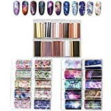 Kalolary 30 Rolls Transferfolie Nailart, Groß Größe Transferfolie Nägel Nagelfolie Aufkleber, Nailart Folie Transfer selbstklebend Nail Art Fittings Nagel Sticker Nagelfolien DIY Set