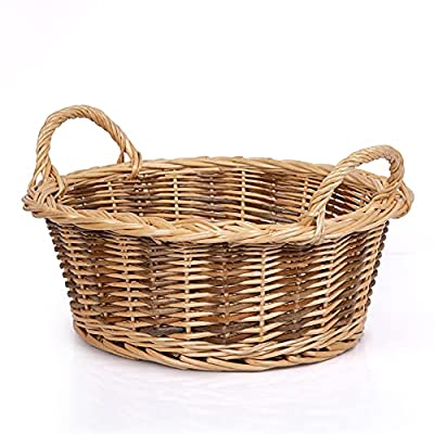 Wicker Storage Basket with Handle for Flower Fruits Woven Empty Gift Basket for Toy Candy Organizing,Small by JINGSEN