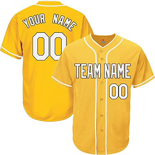 SEVEN-S Yellow Custom Baseball Jersey for Men Women Youth Button Down Embroidered Team Player Name & Numbers S-5XL image