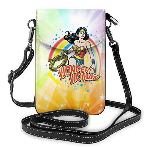 HYJUK Handy Umhängetasche Wonder Woman Airbrush Handy Geldbörse Leder Geldbörse Frauen Umhängetasche