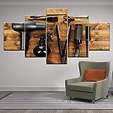 ZSYNB 5 Tableaux d'art Toile Mur Art Photos Décor À La Maison 5 Pièce Outils De Coiffure Ciseaux Peigne Peinture Imprimer Salon De Coiffure Salon De Beauté Affiche