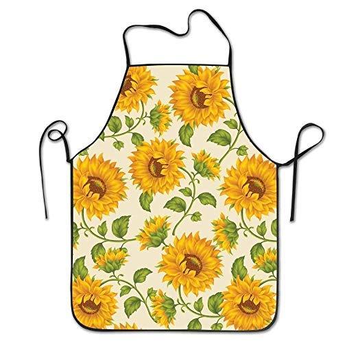 antvinoler Aprons Yellow Sunflowers Fun Short Resists Apron for Kitchen BBQ Barbecue Cooking Gardening Waterproof Durable and Great Gift Uniform Code Suit for Men Women Creative Design Bib