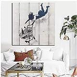 cuadros decoracion salon Street Graffiti Abstract Canvas Pop Art Print Girl Relleno con carrito de compras Pintura de pared Cuadro de pared para sala de estar Cuadros 31.5x31.5in (80x80cm) x1pcs Sin