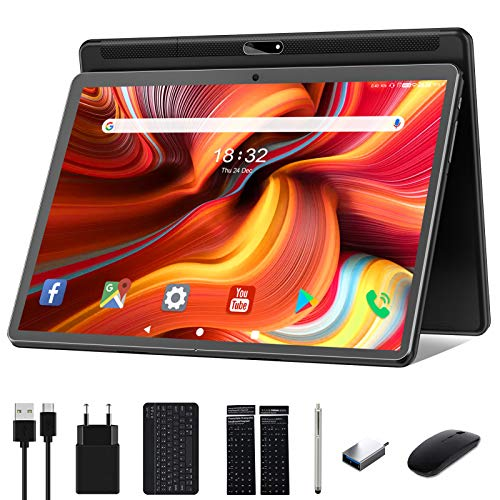 Tablet 10 Zoll Android 10.0,Google Tablett Pad mit Tastatur, Maus und Stift, 32GB ROM 128GB erweiterbar,Octa-Core-Prozessor,13MP&5MPKamera,1920x1200 IPS FHD-Display, GPS WiFi Buletooth OTG, schwarz