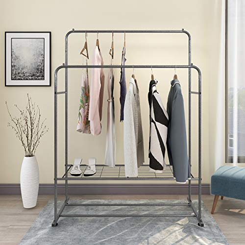 Clothing Garment Rack Metal Heavy Duty Double Rail Clothes Rack Organizer 2-Tier Storage Shelf for Boxes Shoes Boots Commercial Grade Multi-Purpose Entryway Shelving Unit for Home Bedroom Black Silver