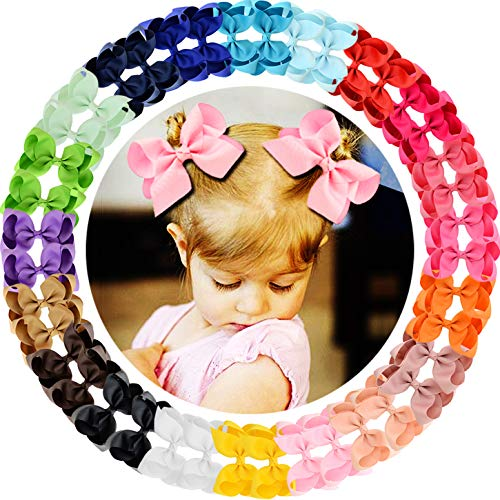 WillingTee 40Pcs Grosgrain Ribbon Hair Bows Alligator Clips for Baby Girls Infants Toddlers Kids Teens Children 20 Colors in Pairs (4.5 Inch)