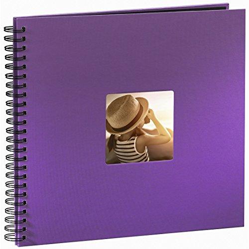Hama Jumbo Fotoalbum (36 x 32 cm, 50 schwarze Seiten, 25 Blatt, mit Ausschnitt für Bildeinschub) Fotobuch lila