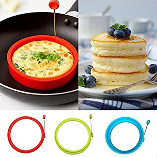 Aalborg125 Pancake Rings Silicone Fried Egg Pancake Ring Omelette Fried Egg Round Shaper Eggs Mould for Cooking Breakfast Frying Pan Oven Kitchen