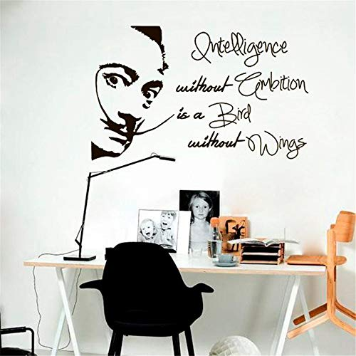 Peel en Stick Verwijderbare Muurstickers Decal Salvador Dali Quote Intelligentie Zonder Ambitie is Vogel Zonder Vleugels Sticker Room Studio Home Decor 21x12 inches