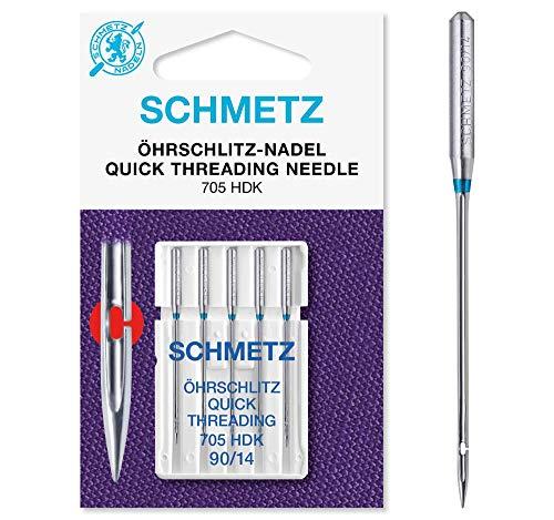 SCHMETZ Nähmaschinennadel 705 HDK | 5 Öhrschlitz-Nadeln | Nadeldicke: 90/14 | geeignet für alle gängige Haushalts-Nähmaschinen