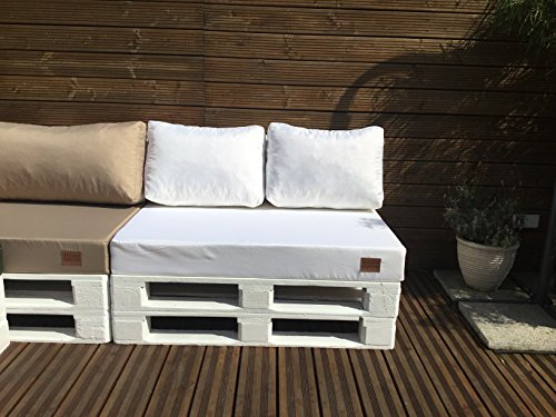 Mayaadi Home Palettenauflage passend für Europalletten Palettenpolster Paletten-Sitzsofa für Drinnen und Draußen MH-GD03 (Sitzkissen 120x80x15 cm Weiß)