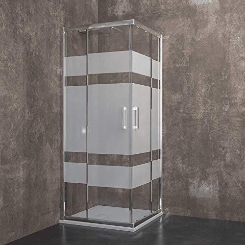 Box Doccia Quadrato Losanna Cabina Bagno Con Porte Scorrevoli Ante In Cristallo Temperato Serigrafato da 6 mm Struttura Alluminio Anodizzato Maniglie