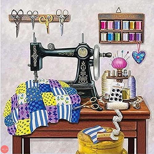 Zeyevan DIY Diamond Painting Máquina de coser Por Número Kit, 5D Punto De Cruz Diamante Pintura Bordado Artes Kit De Punto De Cruz Para Decoración De La Pared Del Hogar 35x35cm Z01148