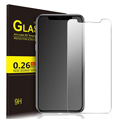 IVSO iPhone X Tempered-Glass Screen Protector, [Crystal Clearity] [Scratch-Resistant] [No-Bubble Easy Installation] for Apple iPhone X Edition Smartphone (Clear)