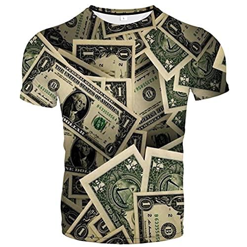 Camiseta 3D, cuello redondo con estampado de verano, manga corta, casual, unisex, elementos únicos, coloridos y bonitos diseños (XXS-6XL), B, Large-X-Large