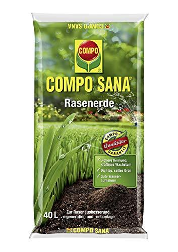 Compo SANA Rasenerde mit 8 Wochen Dünger für die Rasenausbsserung, -regeneration und -neuanlage, Kultursubstrat, 40 Liter, braun