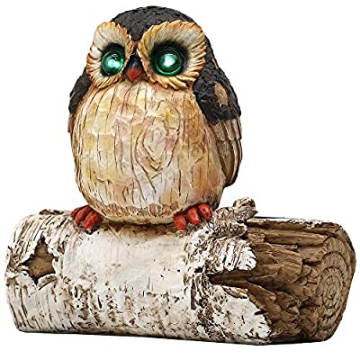 LINSBO Garden Tree Decor Owl Statue with Solar ...