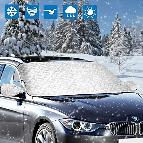 Mopoin Car Windshield Cover, Magnetic Car Snow Cover Protector, Frost Guard Windshield Cover with Rearview Mirror Protector, Fit Most Cars/SUV,Best for Ice, Snow, Frost and Sun Protection 58.3x46.5