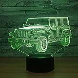 Coche luz de noche gradiente jeep forma de cinturón 3d cama Usb dormitorio...