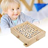 NAMEI Wood Labyrinth Table Maze-Large Wooden Maze Board Game-Challenging Balance Board Table Maze Puzzle Solitaire Toy with 2 Steel Ball for Kids and Adults (36 Hole)