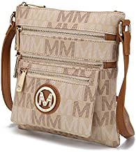 Mia K. Collection Crossbody bag for women - Removable Adjustable Strap - Vegan leather Crossover Designer messenger Purse Beige