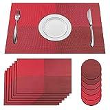 SUPERSUN Set di 6 tovagliette Lavabile Place Table PVC Antiscivolo e Protezione dell' Ambiente da Pranzo tappetini (Rosso), 30 x 45 cm