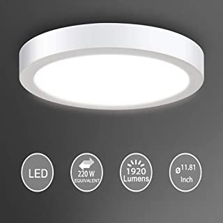 Flush Mount LED Ceiling Light Fixture-24W Soft Daylight Flat Round Surface Mounted Downlight Lamp Lighting for Closet/Bedroom/Dining Room/Kitchen/Kids Room/Dorm Room