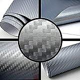 Minleer Stickers Pellicola (2 Pezzi), 3D Carbonio Adesiva Foglio, Rivestimento Adesivo 3D di Vinile in Fibra di Carbonio per Auto, Impermeabile, Anti Bolle (152 x 30 cm) (Argento)