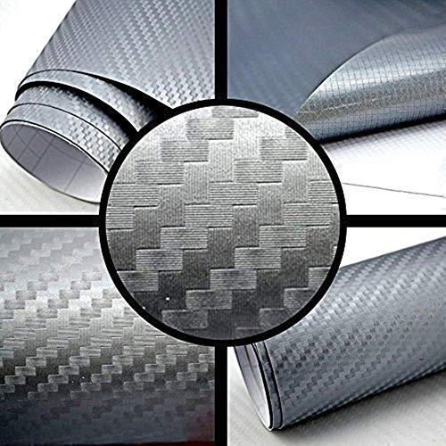 3D Carbon Folie, Minleer (2 Stück) 3D Autofolie Carbon Vinyl selbstklebend flexibel Car Wrapping Folie Hochglanz Blasenfrei mit Luftkanälen (152 x 30 cm) Silber