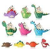FANDE 50 Pezzi Decorazioni per Cupcake, Dinosauro Cupcake Topper Dinosaur Cupcake Wrapper per Dinosauro Feste di Compleanno Decorazioni per Ragazzi Bambini