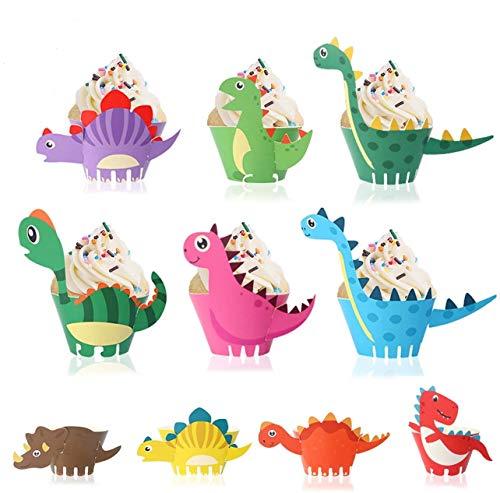 FANDE 50 Stück Dinosaurier Cupcake Wrapper, Dinosaurier Cupcake Toppers Wrappers Dinosaurier Kuchen Dekoration für Kinder Geburtstag Party Geburtstag Deko