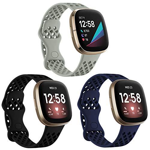 Ouwegaga Correa Compatible con Fitbit Versa 3 Correa/Fitbit Sense Correa, Correa Deportiva de Silicona Pulsera de Repuesto Compatible con Fitbit Versa 3/Sense, Pequeño Negro/Azul/Gris