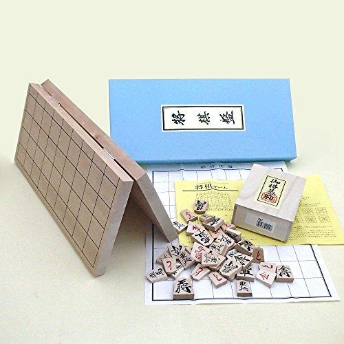 木製将棋セット 新桂6号折れ将棋盤と優良押し駒のセット